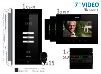 "KIT VIDEO 7"" smart+ · 4 Fire,negri incastrat 3 FAMILII,VKM.P3FR.T7S4.ELB04"